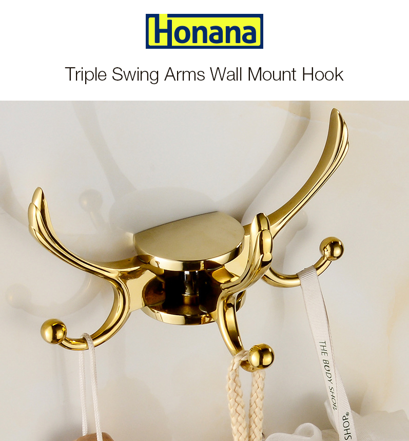 Honana Multipurpose Heavy Duty Solid Metal Home Wall Mount Triple Swing Arms Coat Towel Hook