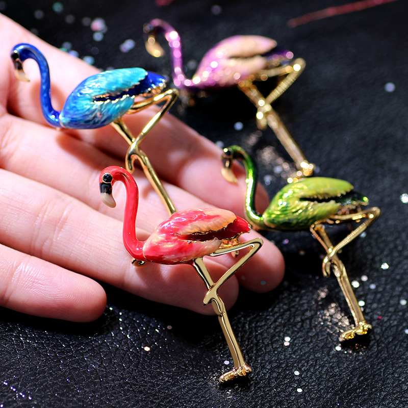 Trendy 24K Gold Colorful Enamel Flamingo Bird Brooch Pins