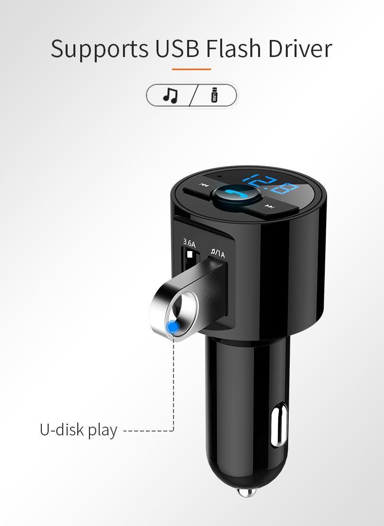 Mini LED Display Dual USB bluetooth Hands-free Smart Quick Car Charger Built-in Microphone