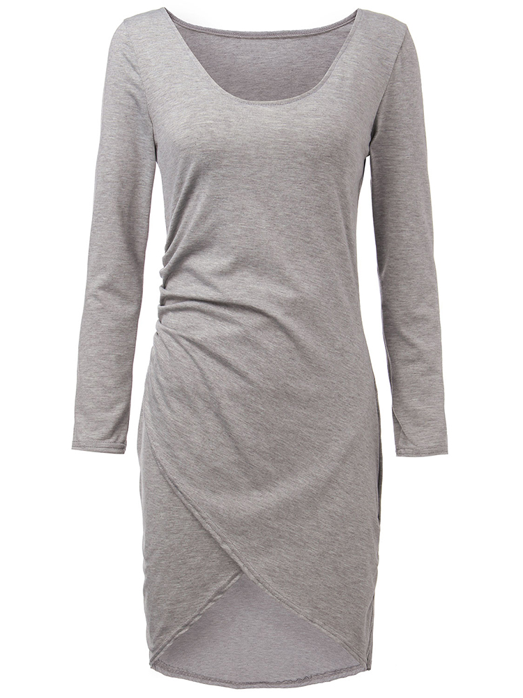Grey Sexy Split Dresses Women's Asymmetric Bodycon Dresses