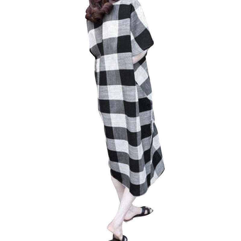 Women Short Sleeve V Neck Plaid Kaftan Mid-long Dress