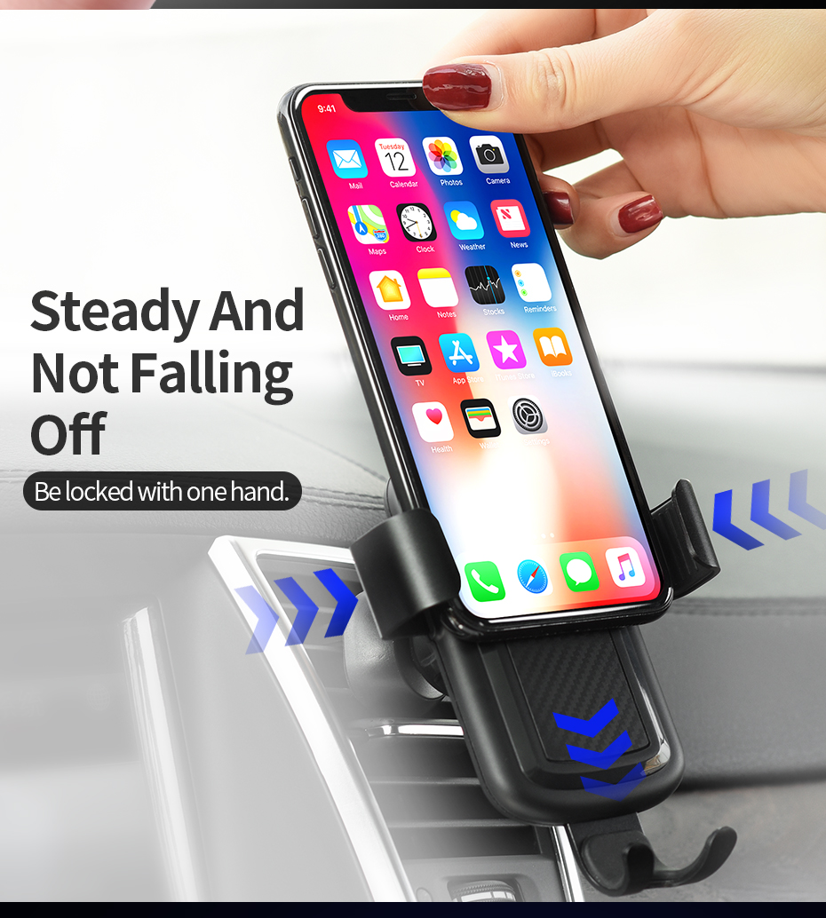 HOCO CW12 10W QC3.0 Fast Charging QI Wireless Car Charger Phone Holder For iphone X 8 For Samsung S8