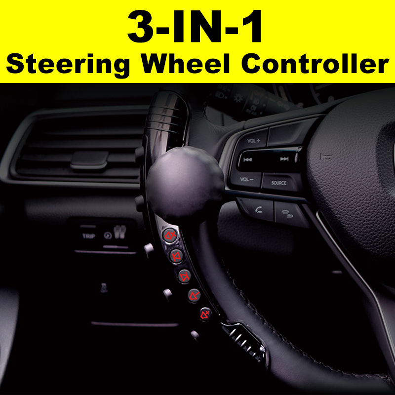 3-In-1 Universal Car Wireless Steering Wheel Control Button Booster Ball Controllor Multi-function LED Noctilucent 360 Degree Rotation For DVD Navigation