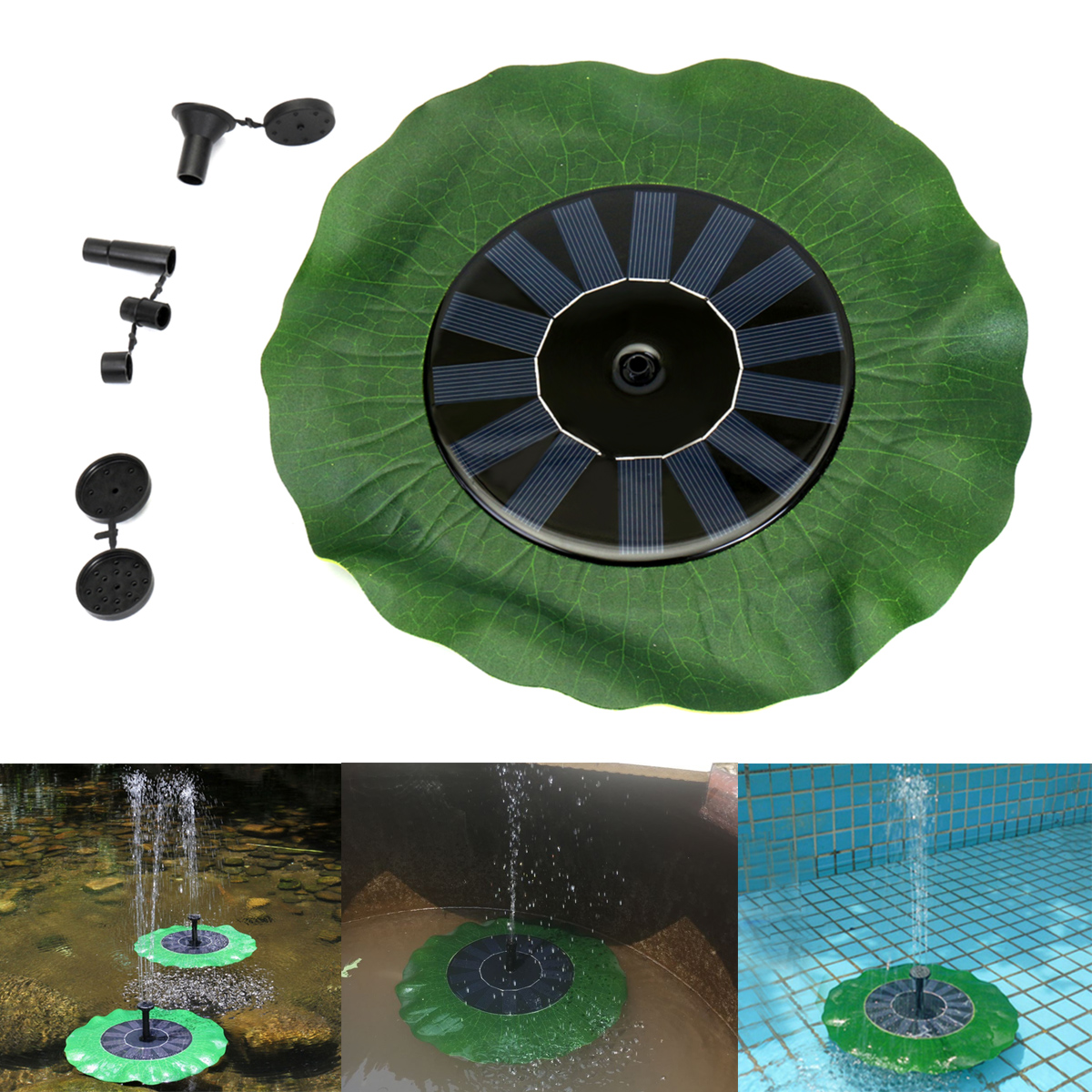 Solar Powered Fountain Pump Energy-saving Solar Water Floating Lotus leaf Pump Fountain Pond Bird Bath Fish Tank