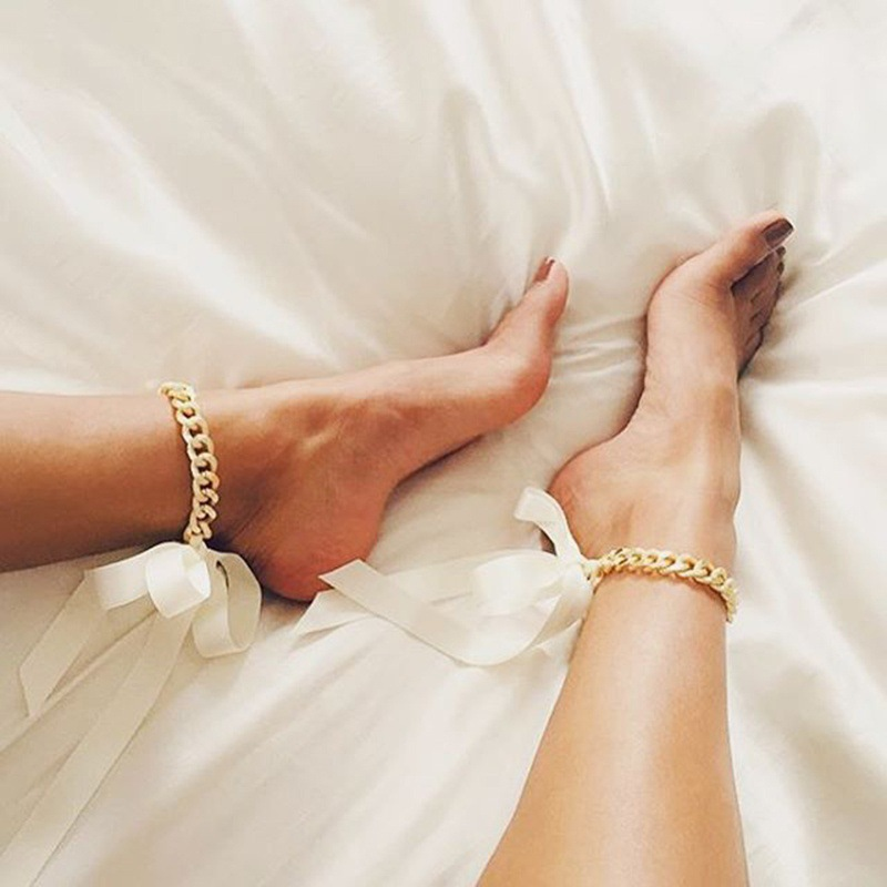 Sexy Barefoot Sandals Thick Gold Chains Ribbon Anklet