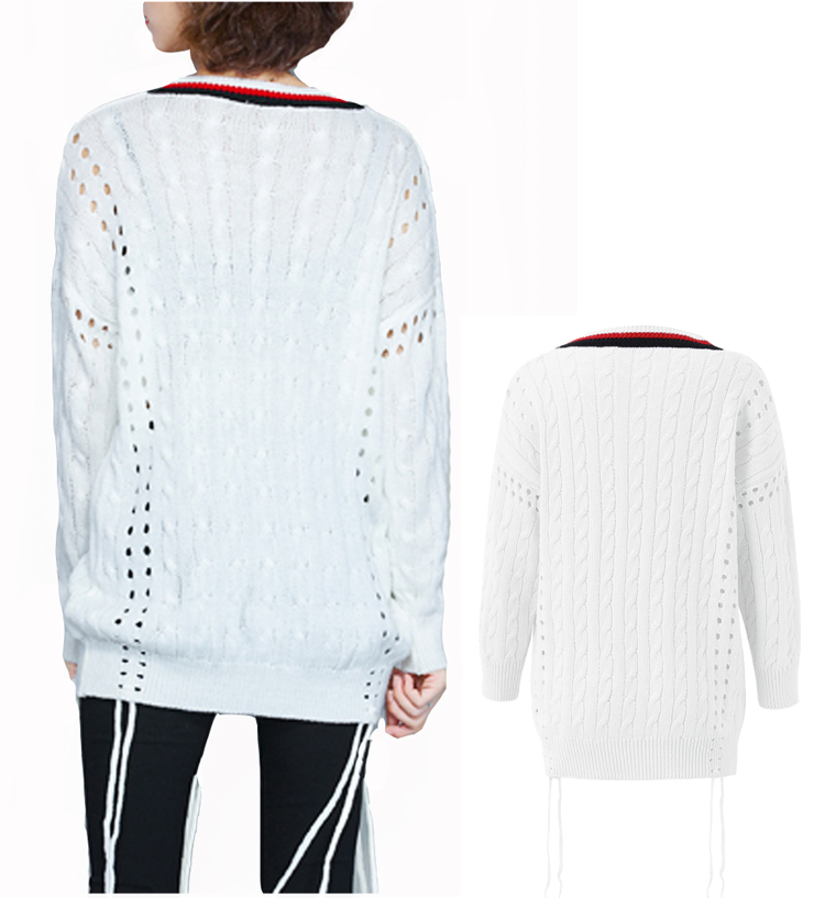 Women Loose V-Neck Hollow Out Tassel White Knitted Sweater