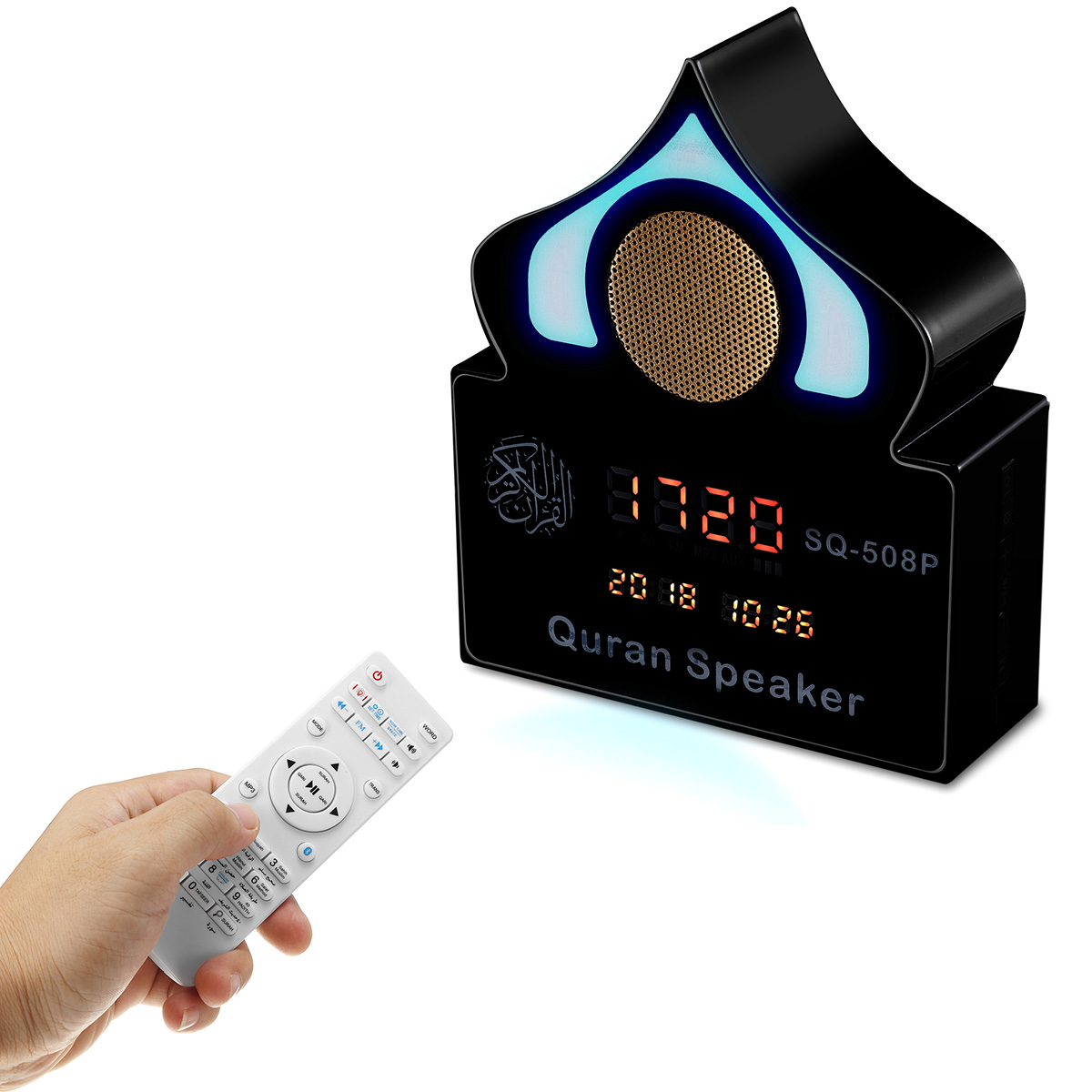 Wireless bluetooth Quran Speaker Alarm Clock Variable Color Light Music Speaker With Mic
