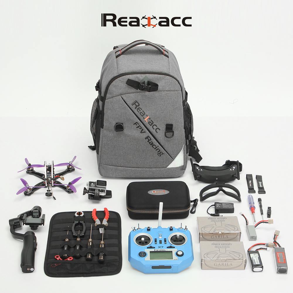 Realacc Backpack Case with Waterproof Transmitter Beam port Bag Tool Board for RC Drone FPV Racing