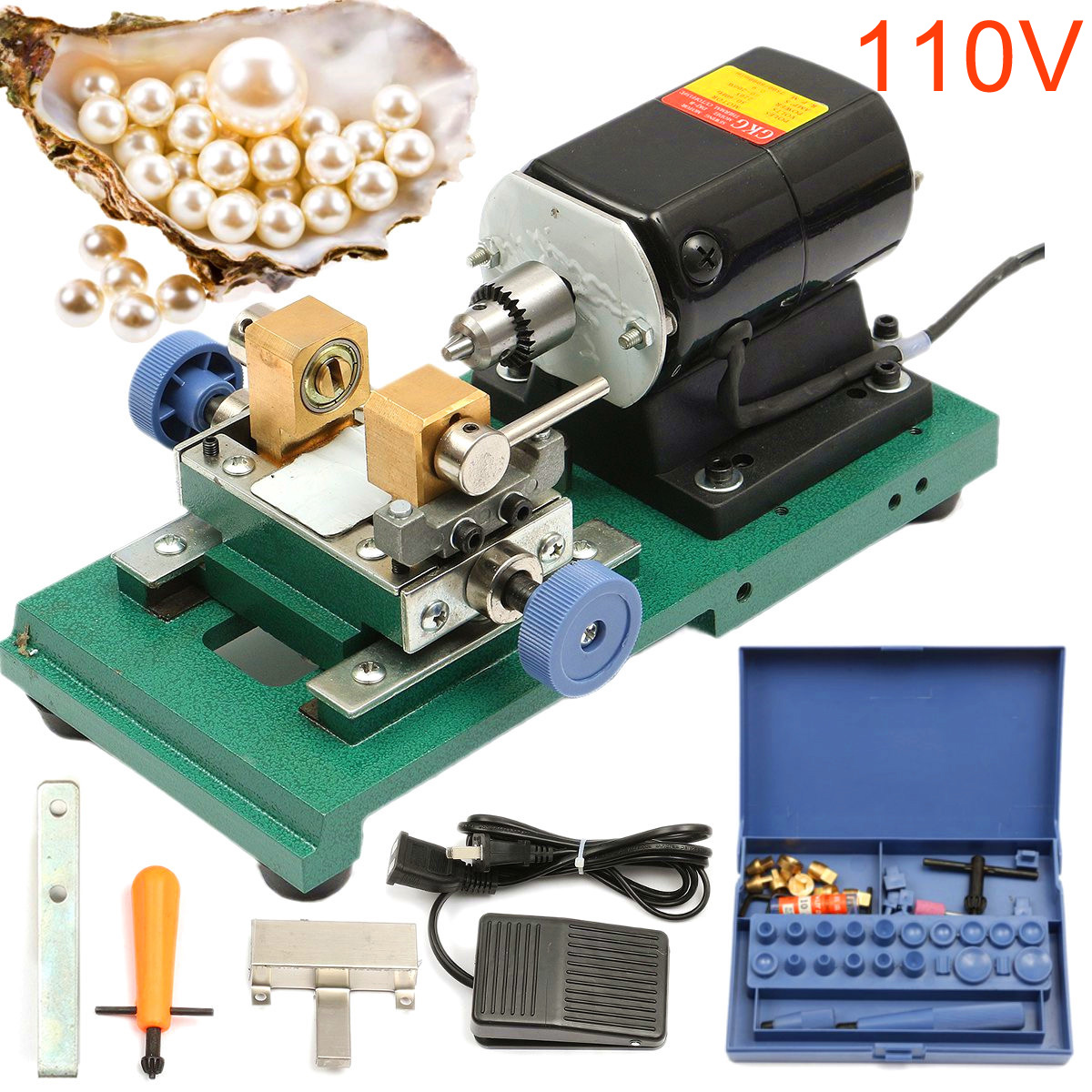 Drillpro 110V 200W DC 24V Mini Lathe Beads Machine Polish Woodworking DIY Tools Set