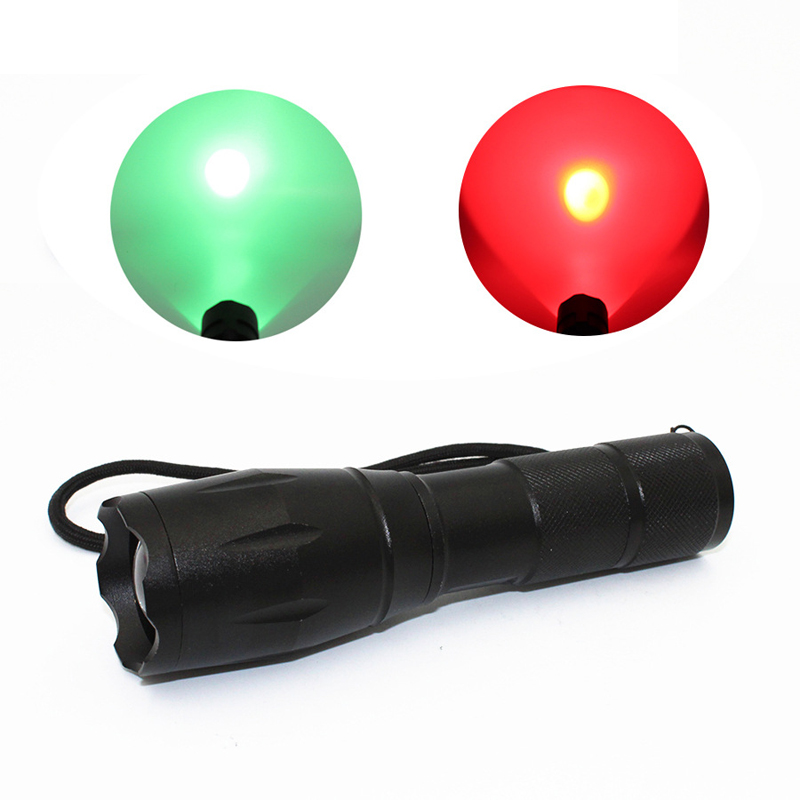 XANES A100 Q5 Red Light / R5 Green Light 1200LM Zoomable Long-range Outdoor Sports Hunting Searching Flashlight