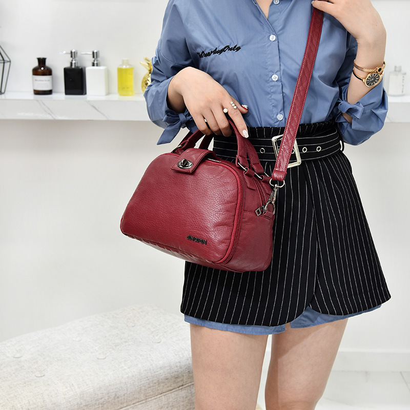 Women Soft Leather Small Square Bag Crossbody Bag