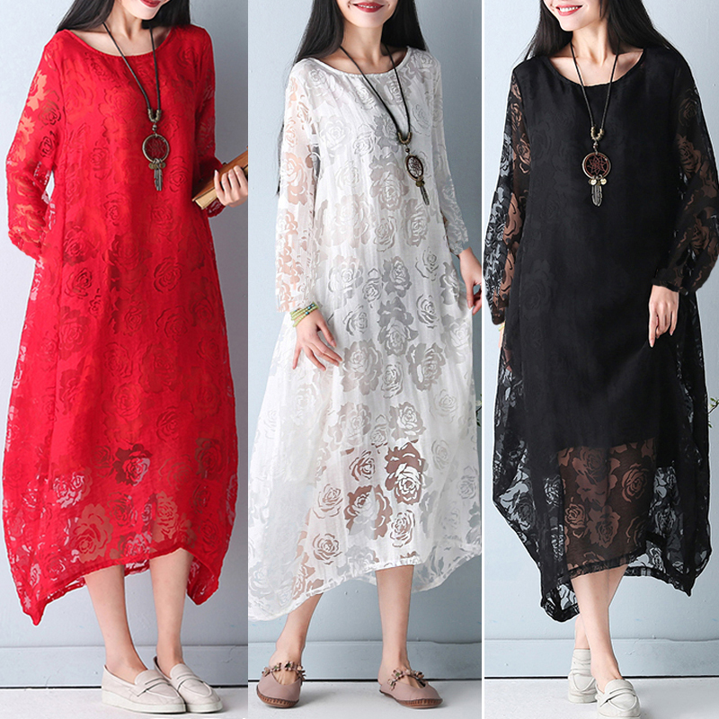 Elegant Women Long Sleeve Solid Color Floral Lace Sheer Dress