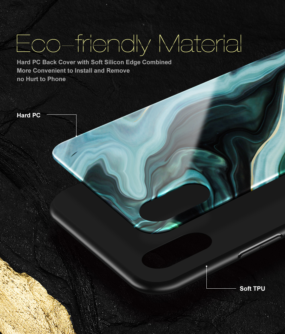 FLOVEME Agate Marble Pattern Soft Silicone TPU Case for iPhone X