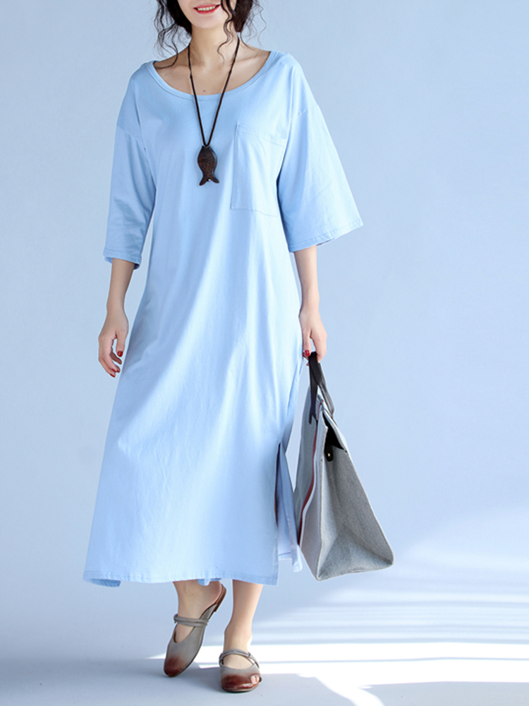 Casual Women Pure Color Side Slit T-shirt Dress With Pocket