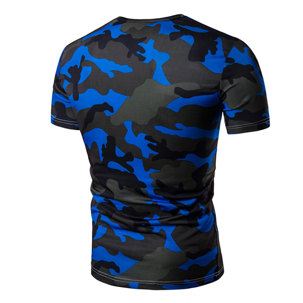 Summer Men's Fashion Casual T-shirt Camouflage Multi-color Large Size V-neck Short Sleeve T-shirt