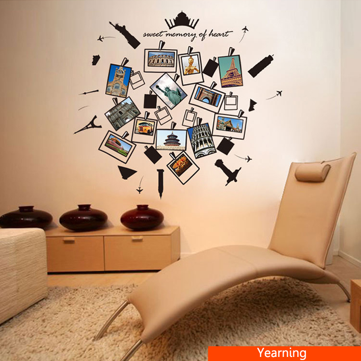 Creative Kids Travel Memory Room Decor Children Hollow Building Album Wall Stickers