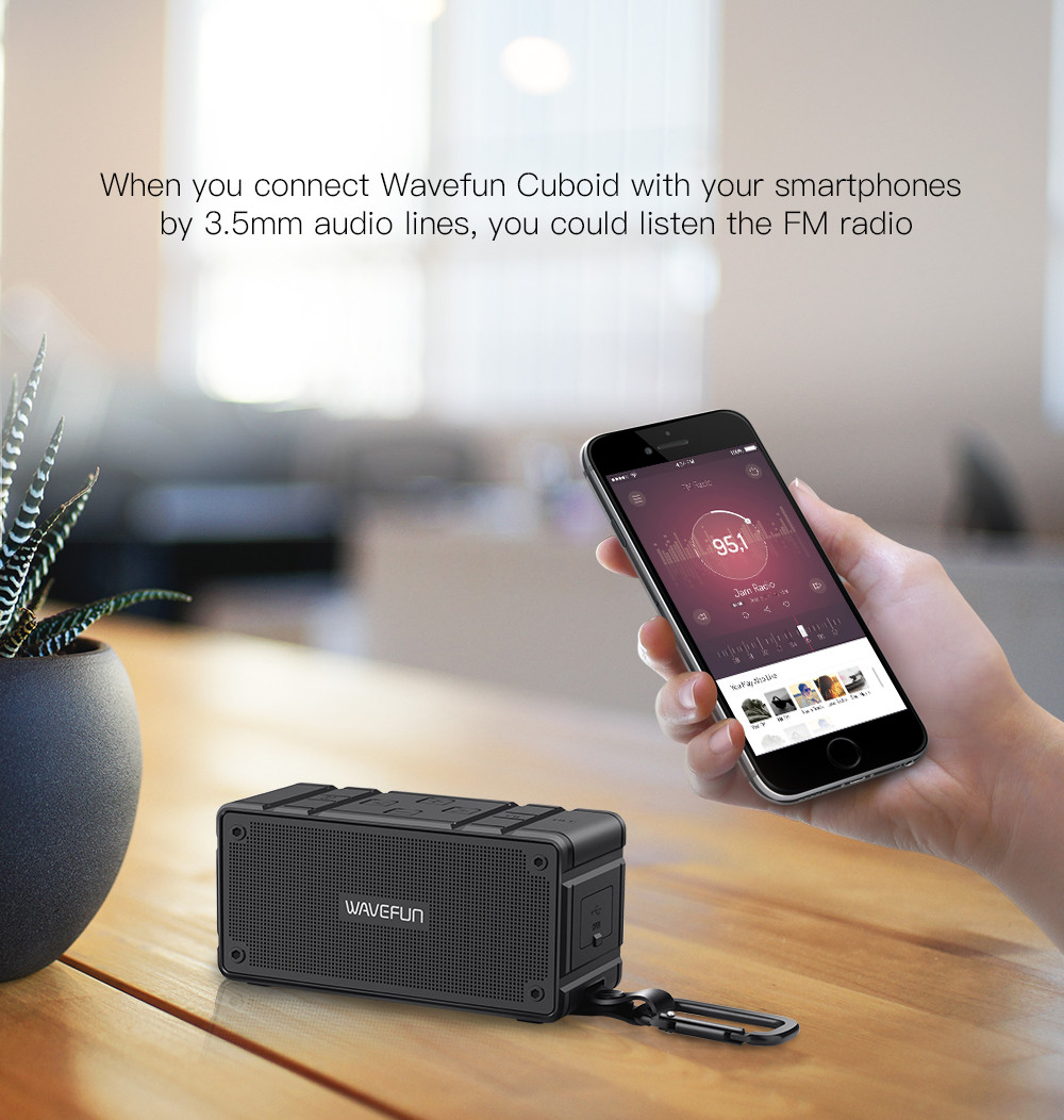 Wavefun Cuboid NFC bluetooth Speaker IP65 Waterproof Stereo Bass Portable Wireless 10W Headset With Mic Support TF Card AUX