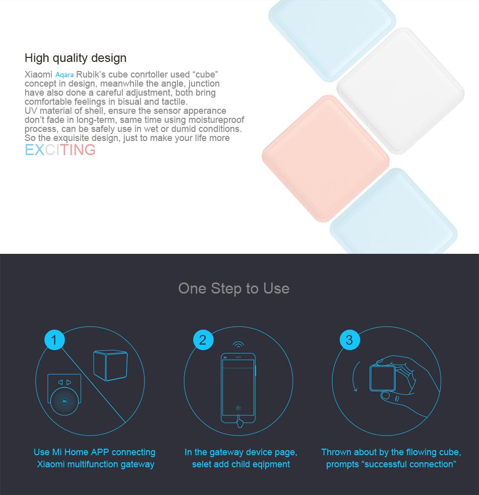 Original Xiaomi Aqara Magic Cube Remote Controller Sensor Six Actions Work with Gateway for Xiaomi Smart Home Kits