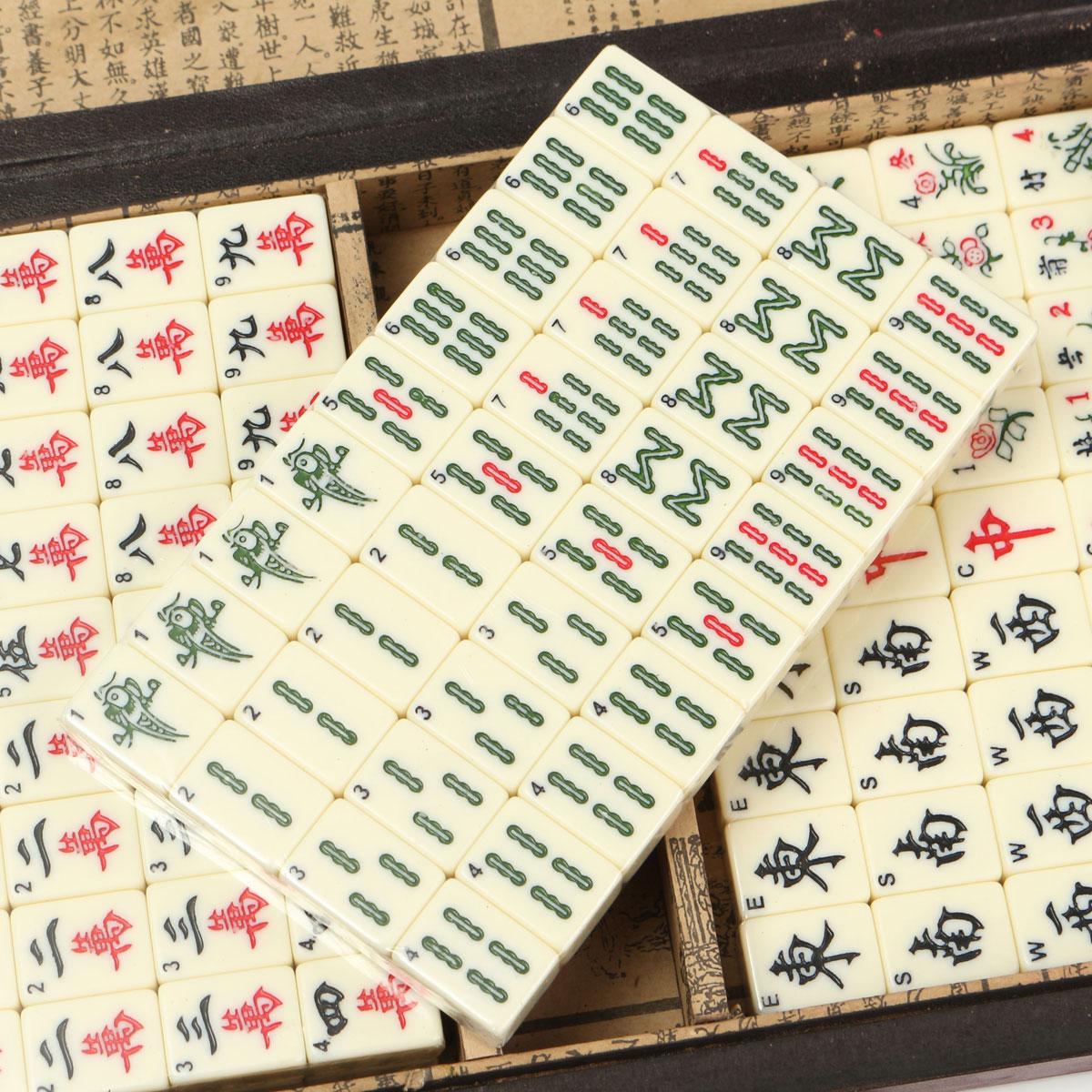 Portable Retro Mahjong Box Rare Chinese 144 Mah-Jong Set Bamboo Piece With Box
