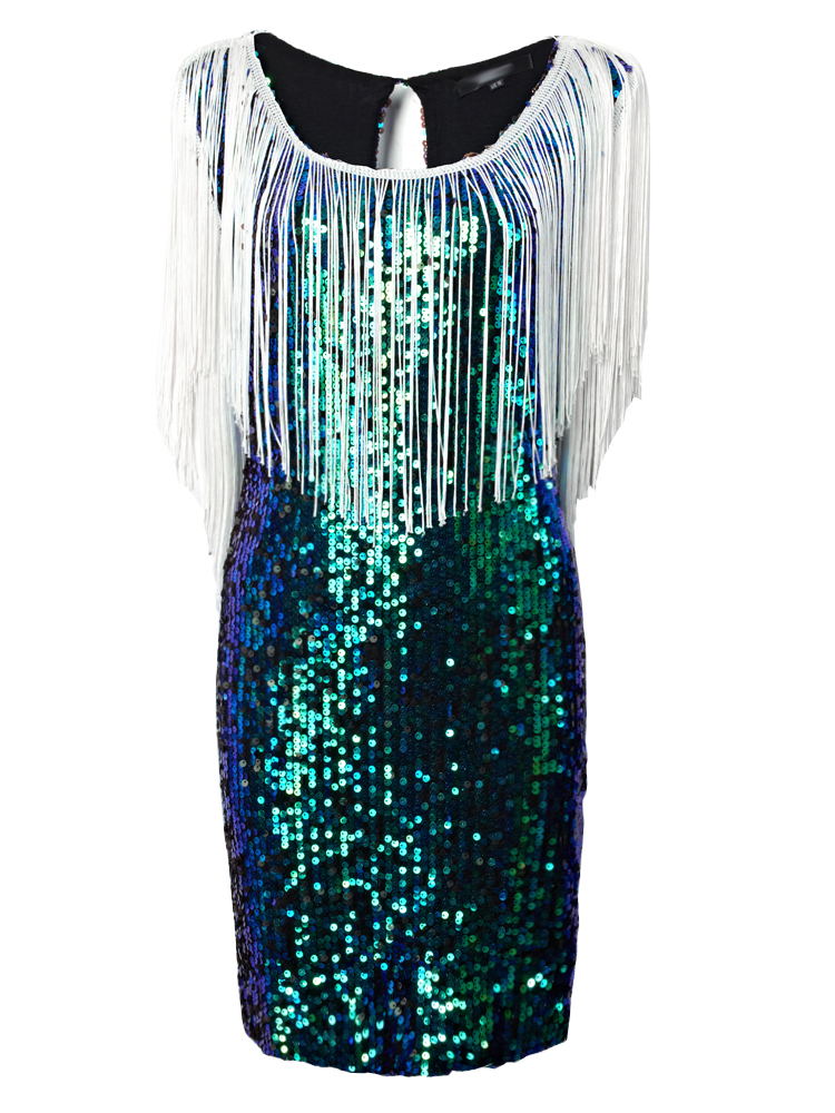 Plus Size Tassel Sequin Sleeveless Slim Dress