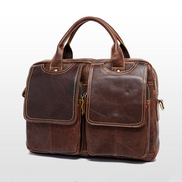 hommes v ritable cuir vintage 14 pouces sac d 39 ordinateur portable business sac porte documents. Black Bedroom Furniture Sets. Home Design Ideas