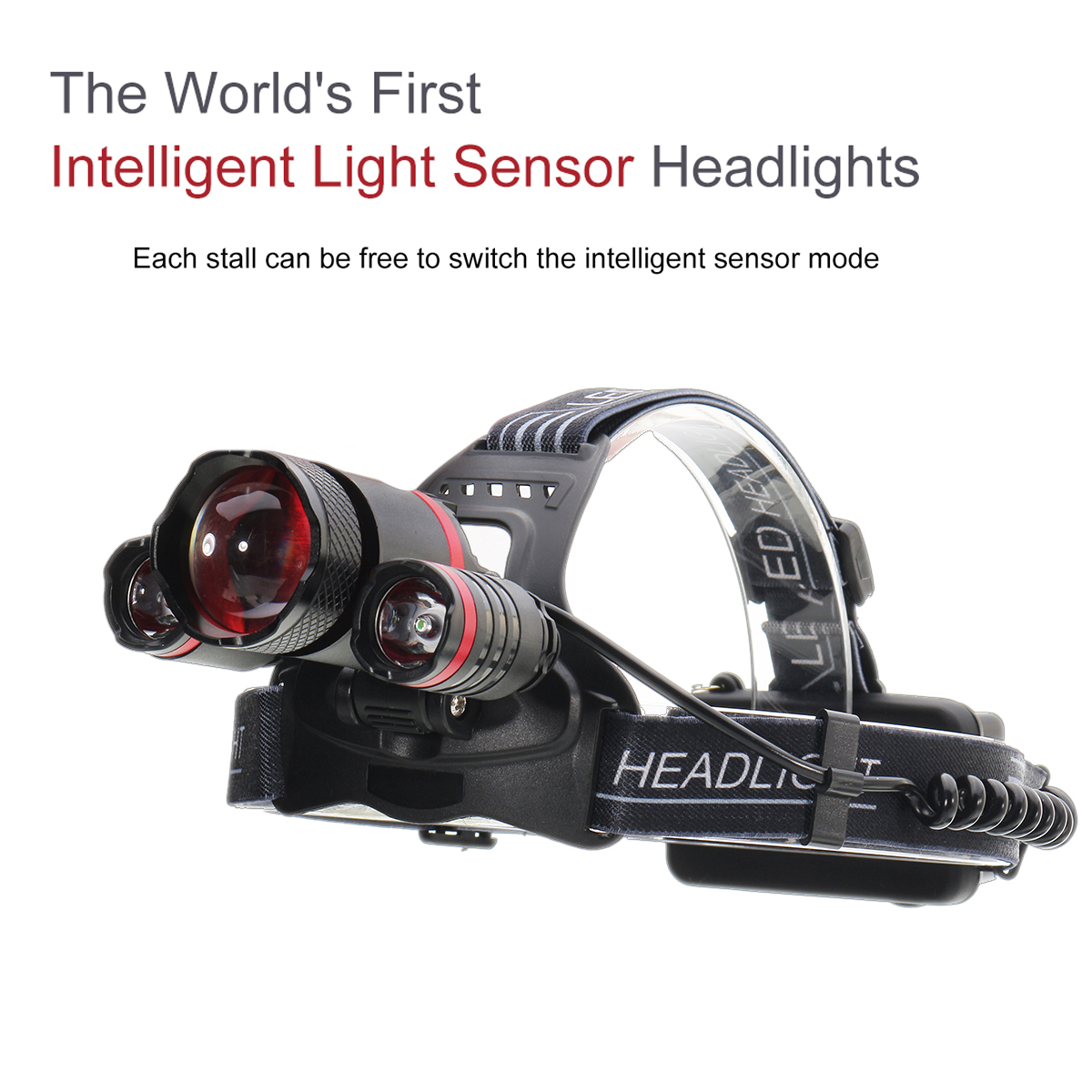 XANES 1500LM 3T6 Smart Light Sensor Bicycle HeadLamp 5 Switch Modes Zoomable Adjustable LED Light