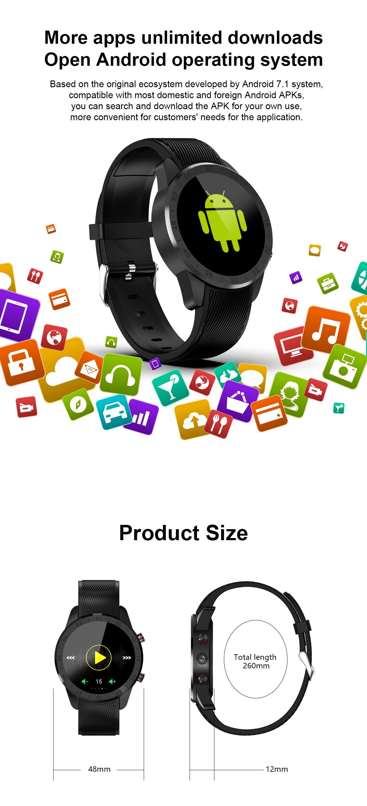 TenFifteen F6 4G 1+16G Watch Phone 1.39'' AMOLED Touch Screen GPS WIFI bluetooth 5 Million HD Camera Smart Watch Optical Heart Rate Monitor Fitness Exercise Sports Bracelet