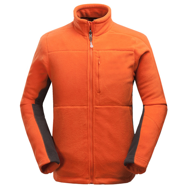 Mens Outdoor Sports Thick Fleece Stand Collar Solid Color Jacket Polyester Warm Coat