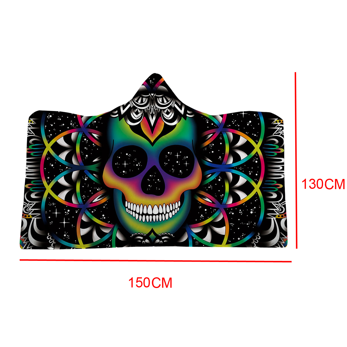 130x150cm 3D Digital Printing The Skeleton Wearable Hooded Blanket Thickened Double Plush Blankets