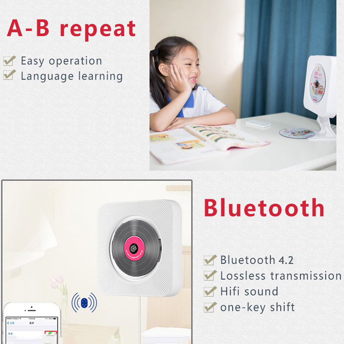 bluetooth Wall Mount Mountable HD DVD Player Speaker Remote Control FM Stereo