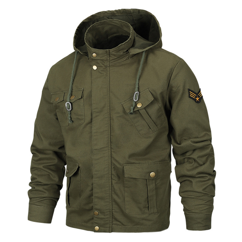 Military Style Multi Pockets Hooded Mens Cotton Jacket