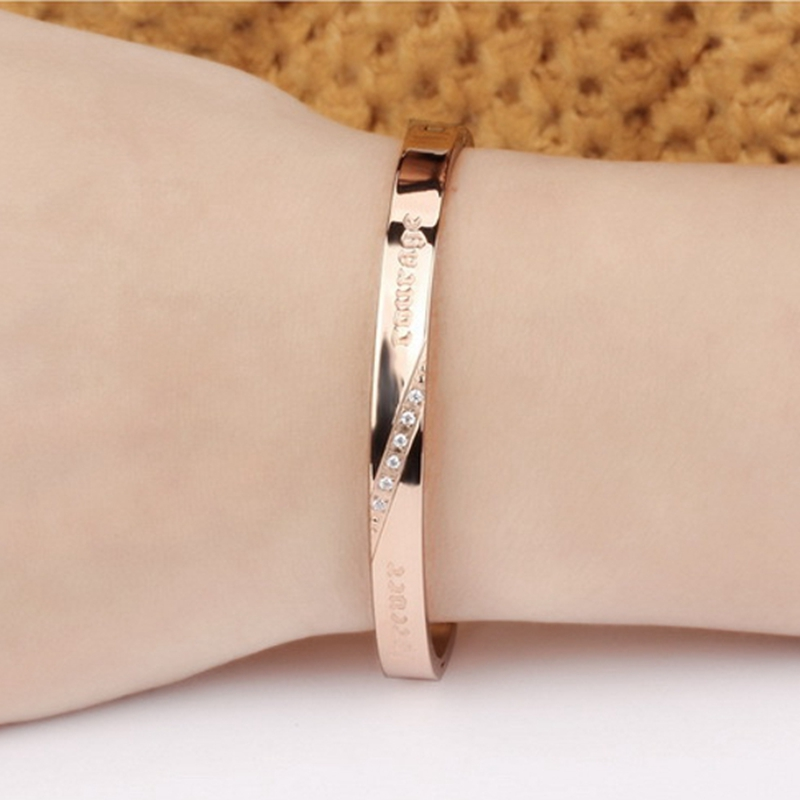 Vintage Titanium Steel Zircon Rose Gold Couple Bracelet