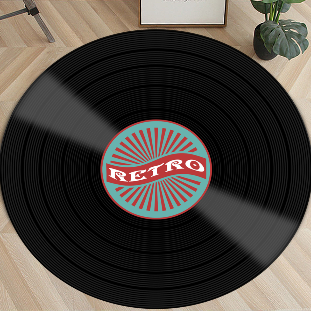 Vinyl Records Innovative Carpet Round Mat Europe Fashion Retro Black Carpet Record Pattern Rug For Living Room Bedroom Floor Mat