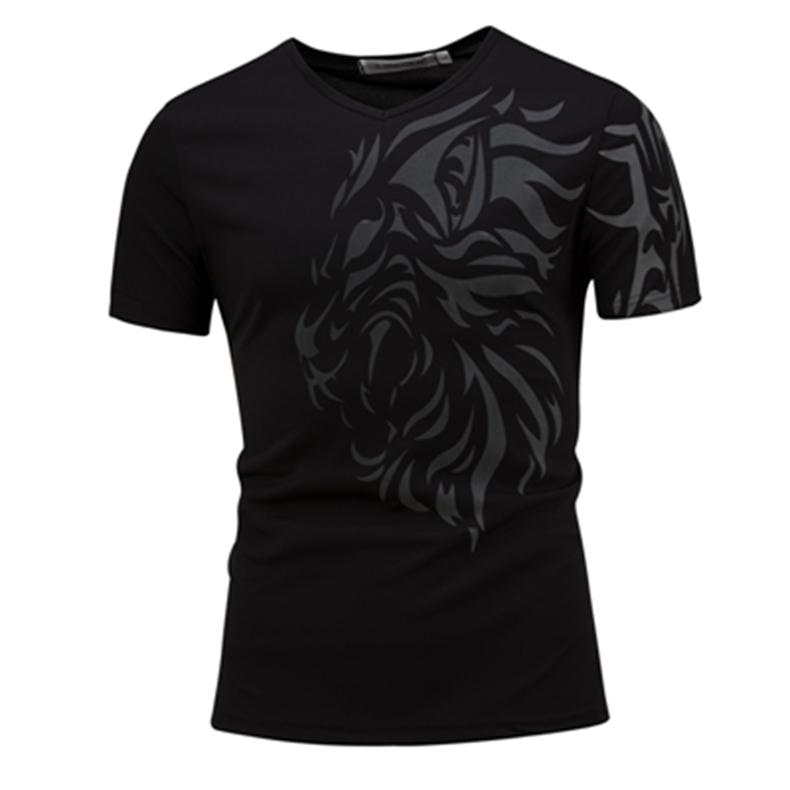 Men's Fashion Lion Head Printed T-shirt Leisure V-collar Short Sleeved T-shirt