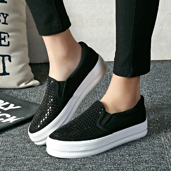 Shoes Women Outdoor Casual Paillette Shiny Pure Color Korean Style Slip On Flat Loafers