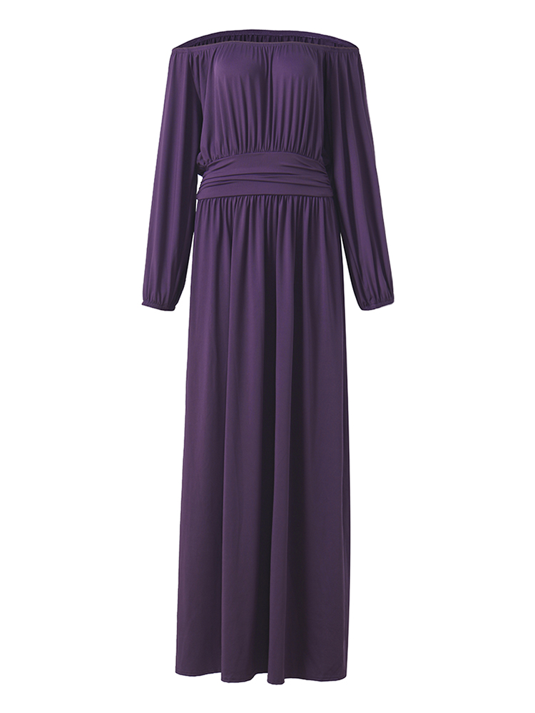 Elegant Solid Long Sleeve Vintage Waist Pleated Women Maxi Dress