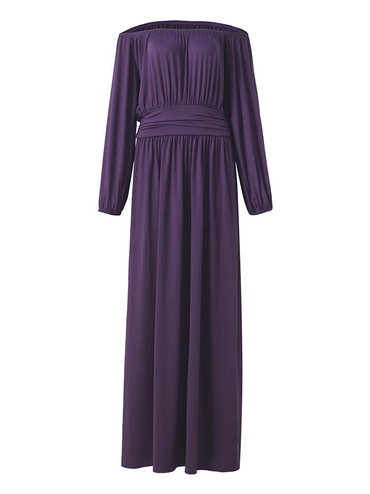 Elegant Solid Long Sleeve Vintage Waist Pleated Women Maxi Dress