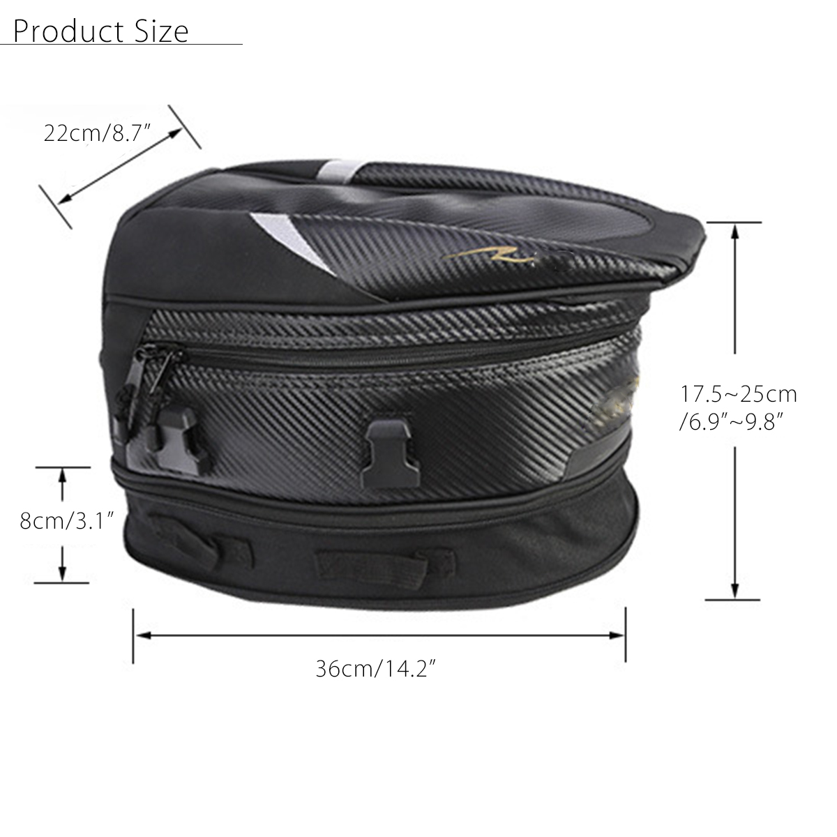 Motorcycle Rear Tail Seat Bag Package Back Carry Shoulder Bag with Rain Cover Waterproof