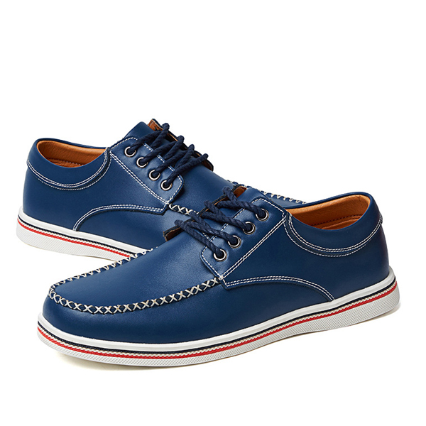 US Size 6.5-11.5 Men Casual Outdoor Low Top Round Toe Leather Oxfords