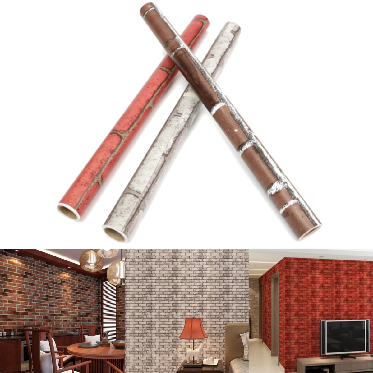 3D Roll Natural Embossed Creative Brick Wall Wallpaper Home Decor TV Background Sticker