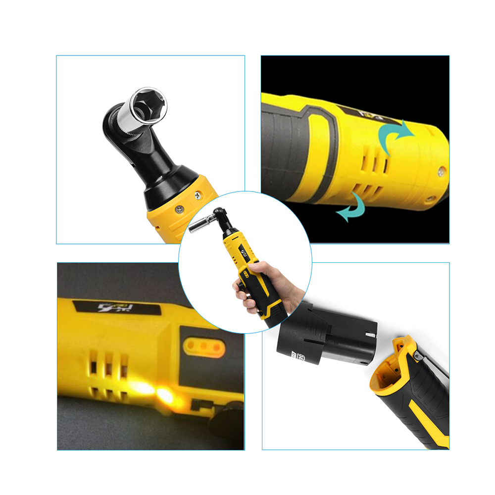 12V 35NM LED Cordless Electric Ratchet Wrench Rechargeable Right Angle Wrench Tools Li-ion Battery