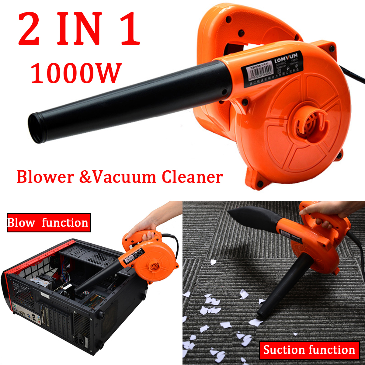 2 IN 1 Handheld Electric Air Turbo Blower 1000W Dust Vacuum Cleaner Car Computer