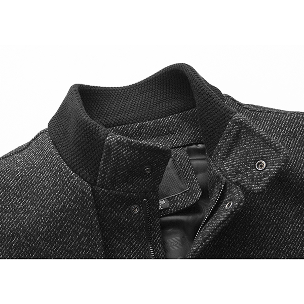 Mens Busniess Single-breasted Wool Trench Solid Color Jacket