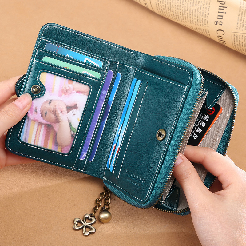 Genuine Leather Women Short Wallets