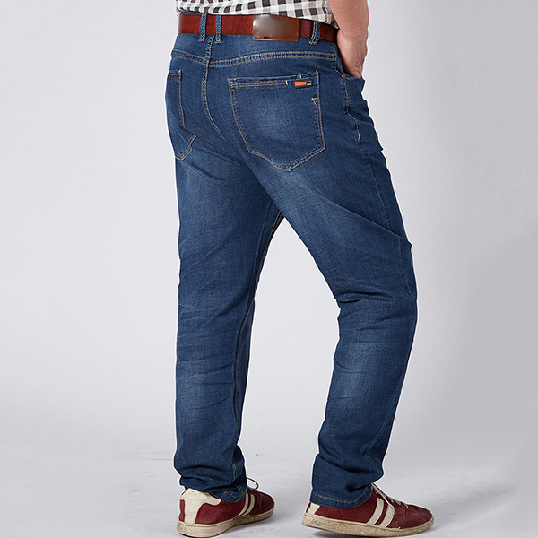 Mens Big Size Business Loose Elastic Mid Waist Jeans