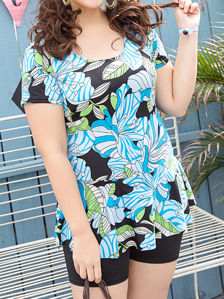 Women Cosy Floral Printing Wireless Short Sleeves Swimdress