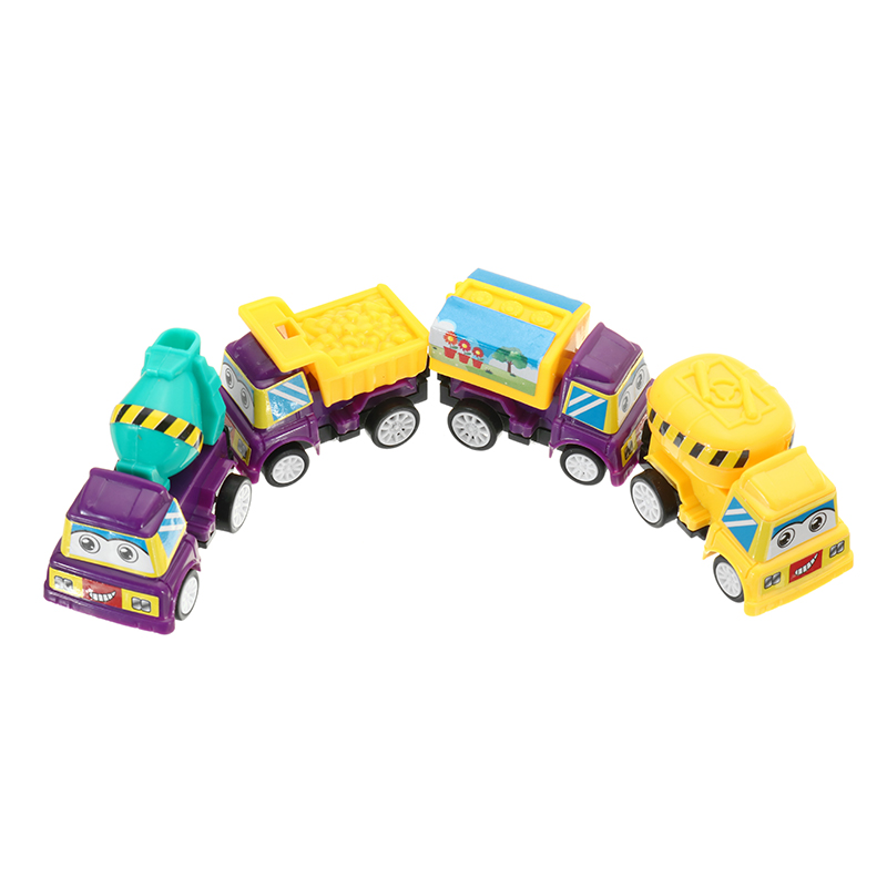 4PCS Cartoon Pullback Truck Construction Mini Car Model For Kids Children Christmas Gift Toys