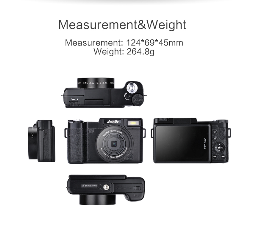 Amkov CDR2 24MP 1080P 4X Digital Zoom Camera with 3 Inch Rotatable TFT Screen 52mm Wide Angle Lens