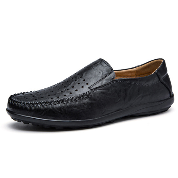 Men Soft Breathable Leather Hollow Outs Loafers Flats