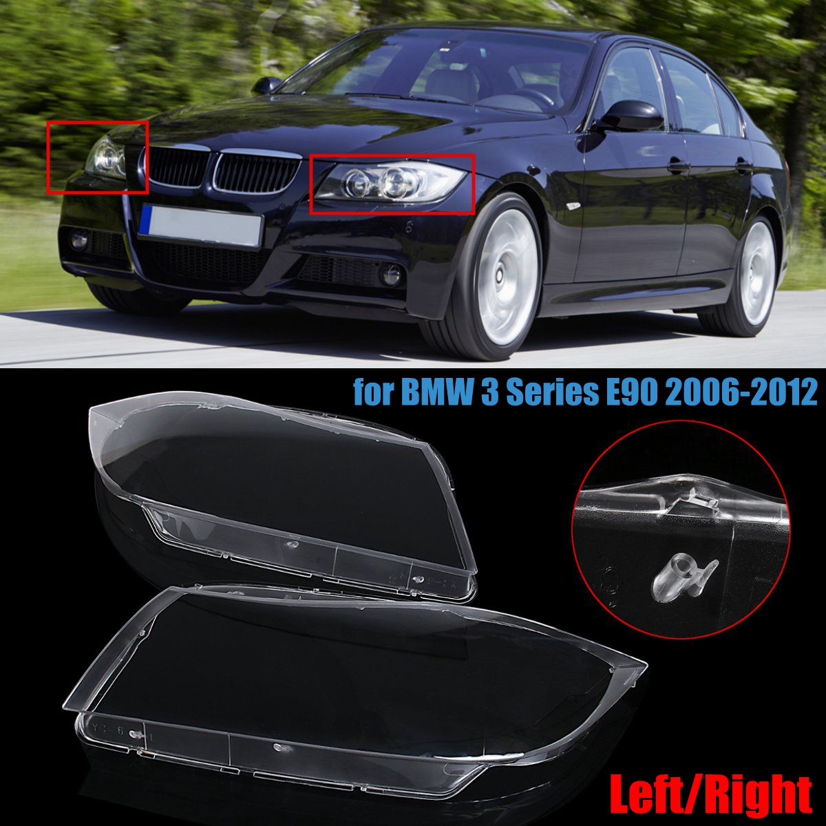 Car Headlight Lamp Lens Shell Clear Cover Left/Right for BMW 3 Series E90 2006-2012